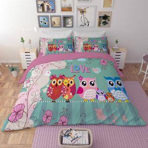 HOUSSE DE COUETTE SEULE Parure de lit la couple de hibou et la famille de