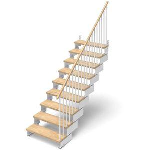 ESCALIER Escalier droit 9 marches en bois massif naturel -