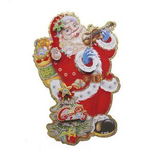 Pere Noel Papier Coller Fenetre Vitrine Mur Pour Decoration Noel Non