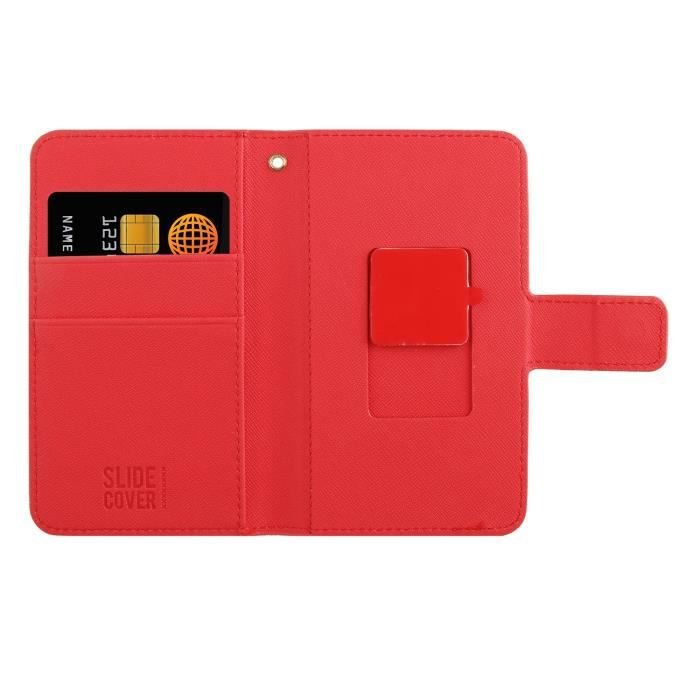 MUVIT SLIDECOVER Folio Universel - Rouge - Safiano - Taille S