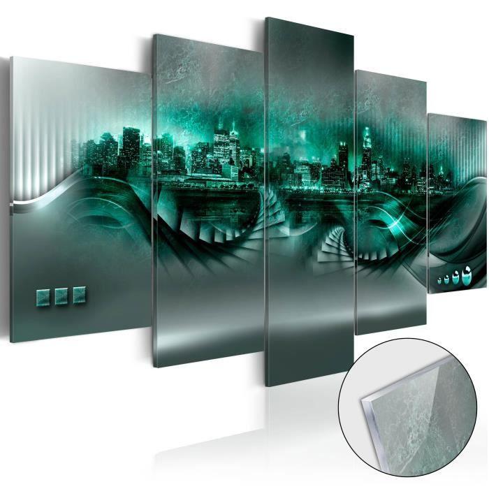 PARAVENT Tableau sur verre acrylique     Emerald City [Glas