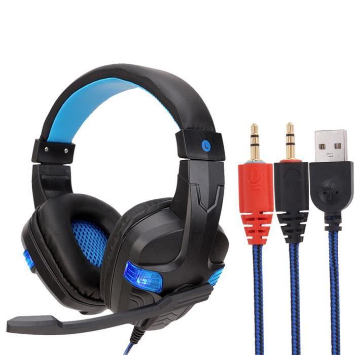 Filaire Usb Led 3,5 Mm Gaming Headset Casque Avec Micro Pour Pc Portable Téléphone@hxq081