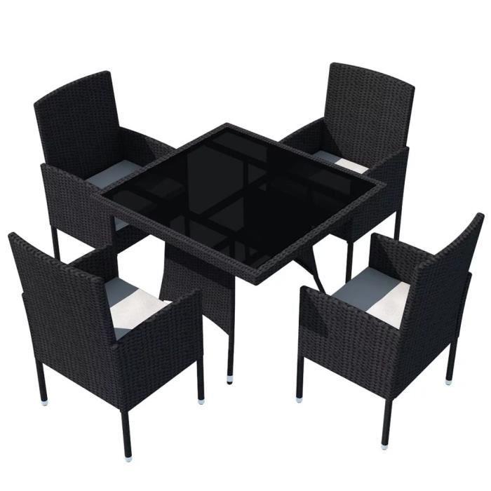 Salon de jardin 9 pcs noir résine tressée Ensemble de mobilier de salle à  manger en rotin