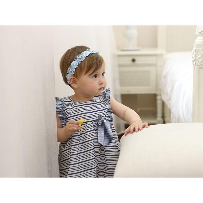 meilleur authentique les ventes en gros prix raisonnable 2 pièces/lot Bandeau bébé fille en dentelle avec fleur bleu ...