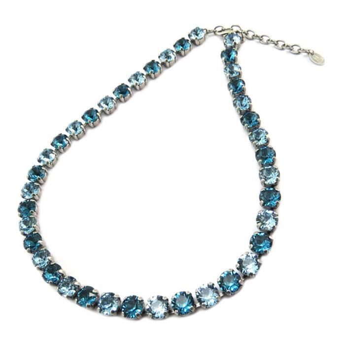 Collier artisanal Tsarine duo turquoise aquamarine indicolite argenté - 8 mm [P5537]