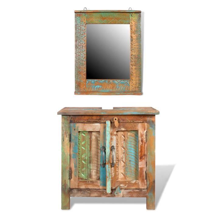 Ensemble meuble-lavabo salle de bain avec miroir bois massif recyclé