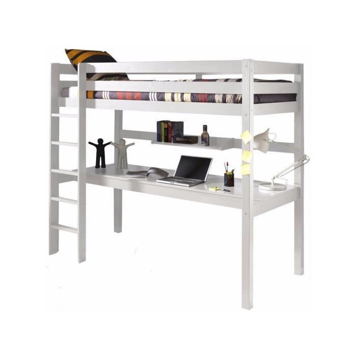 lit sur lev 90x200 cm avec bureau et tag re en pin massif coloris blanc p 21400 co blanc. Black Bedroom Furniture Sets. Home Design Ideas