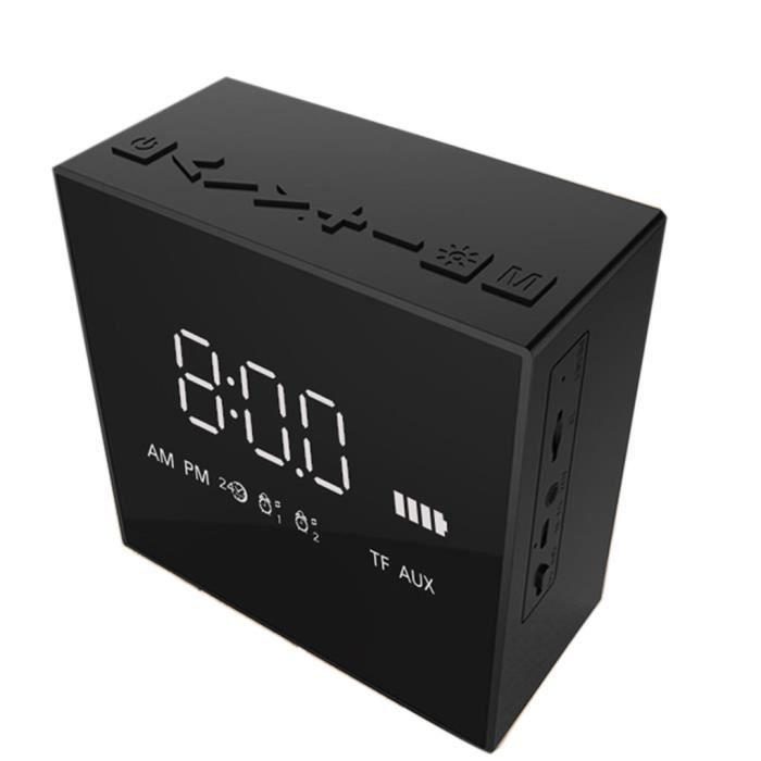 Led Radio-réveil Bluetooth 4.2 Horloge Avec Haut-parleur Sans Fil Hd Miroir Mini Square Type Soundbox Super Bass
