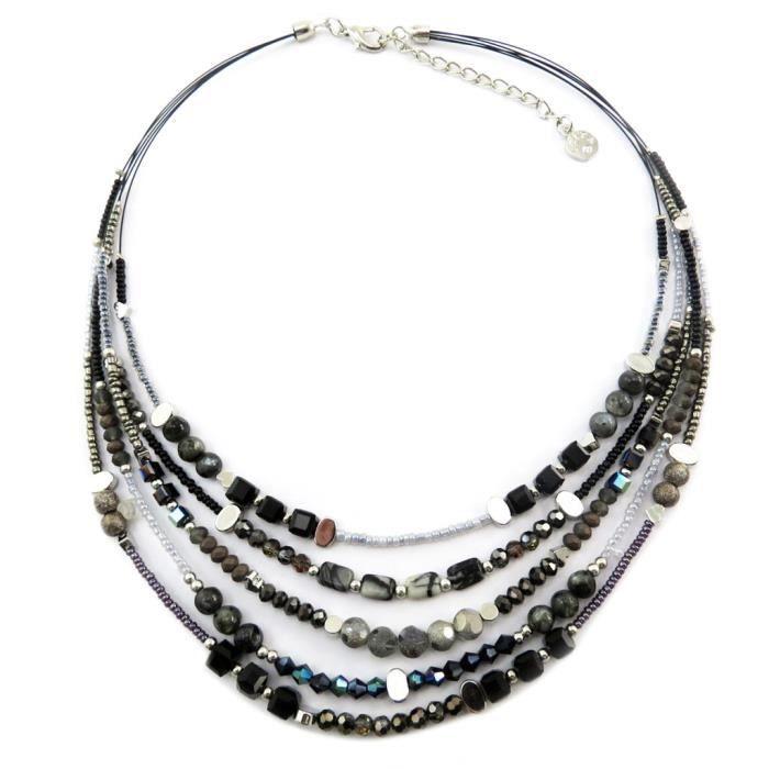 Collier Créateur Acapulco noir gris - 5 rangs [P8437]