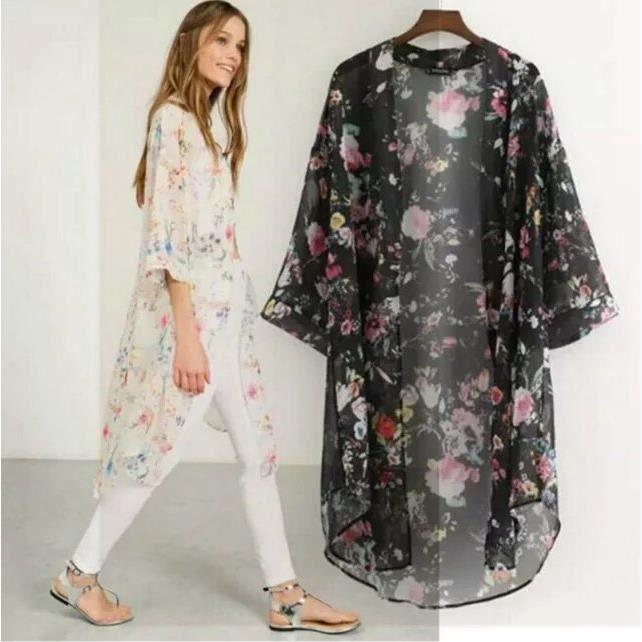 europ en imprim floral chemisier femme 1 2 manche milieu longue kimono chemisier d 39 t v tement. Black Bedroom Furniture Sets. Home Design Ideas