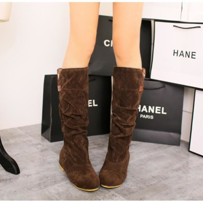 Bottes Femmes Casual Solide Suede Plat Caché Ta...