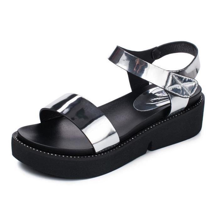 Sandales femme style casual chaussures cuir été enfiler