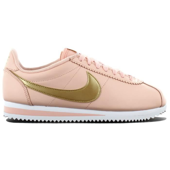 promo code ea871 bf46b Nike Classic Cortez Leather 807471-800 Femmes Chaussures Baskets Sneaker  Orange-Or