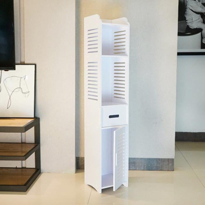 120cm Haute Armoire WC/étagère toilette-Blanc bois plastique-Moderne ...
