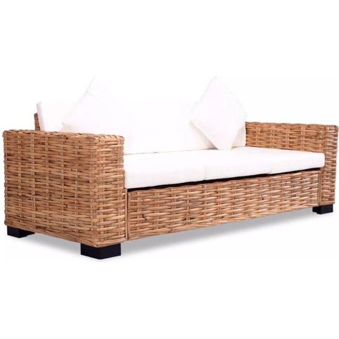 Canapé à 3 Places Rotin Naturel Canapé Lit Confortable Canapé Du0027angle  Convertible