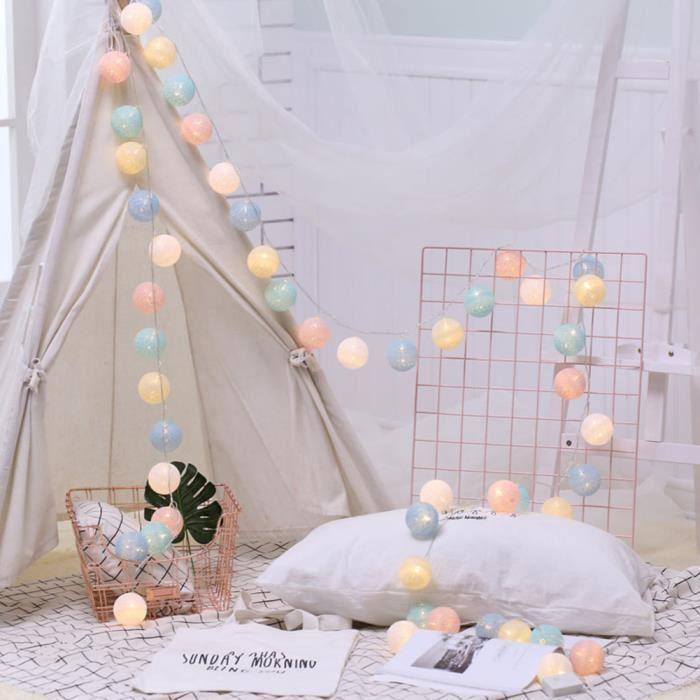 guirlande lumineuse boule intérieur 6m 40LED décoration fête chambre  recharger prise de ronde