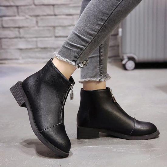 Zipper Ronde En Cuir Toe Bottes Martain Couleur Carrées Shoes Talon Solide Femmes Chaussures 1Jl3KcTF