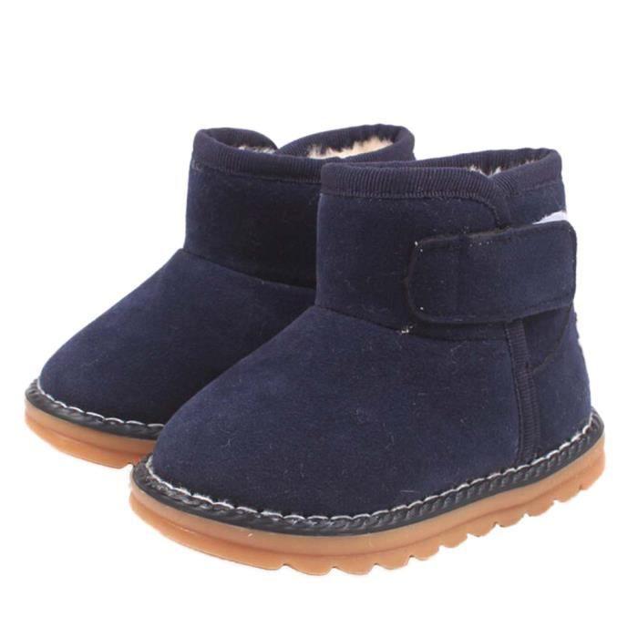 Frankmall®Bébé bambins bottes garçon enfant hiver bottes de neige épaisses chaussures de fourrure MARINE#WQQ0926034