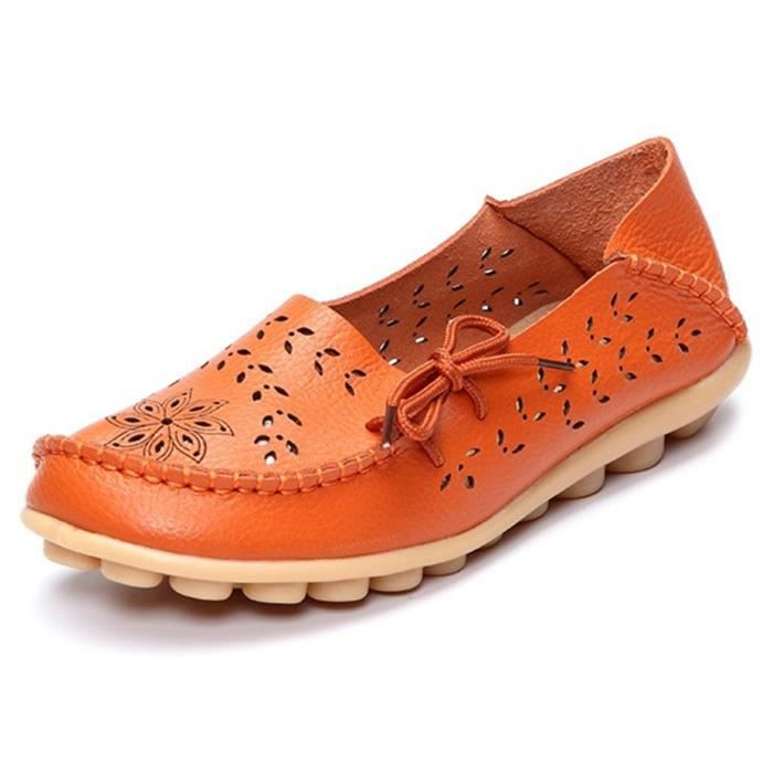 Leather Casual Loafer Shoes, Gracosy Floral Hollow Out Driving Casual Shoes Indoor Flat Slip-on Slip CB8ES Taille-36 1-2