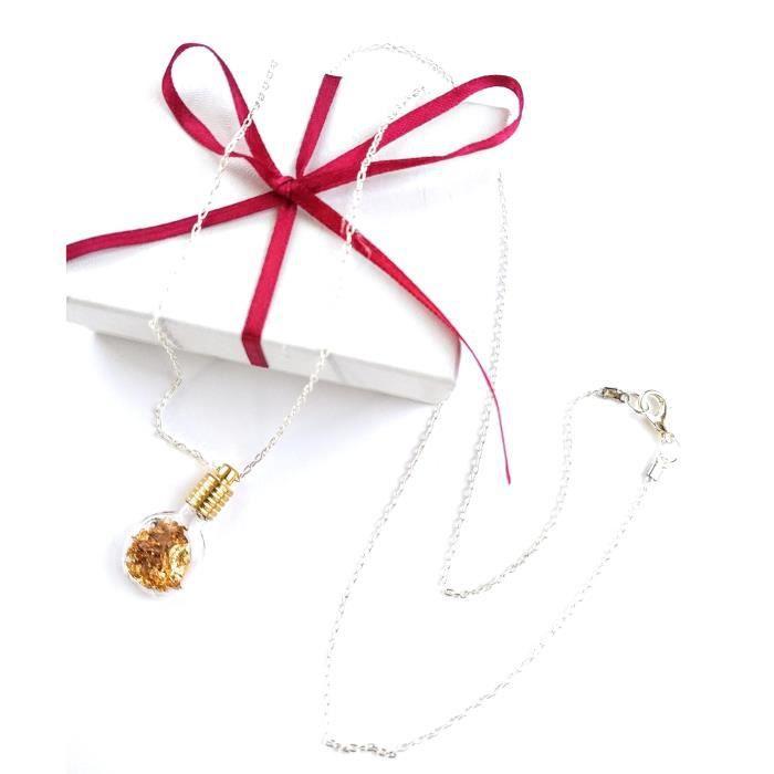 Womens Bottle Pendant Long 30-inch Necklace Gold Leaf Flakes BWJPP