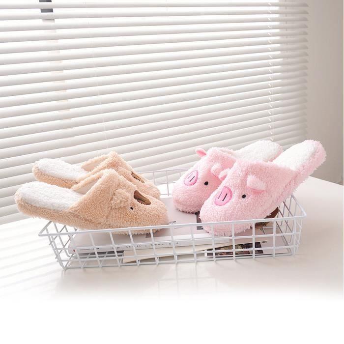 Pantoufles Femme Homme Pantoufle Chaude Maison Chaussons Ouverts Avec Mignon Chaussures Coton Automne-Hiver Antidérapante Doux et