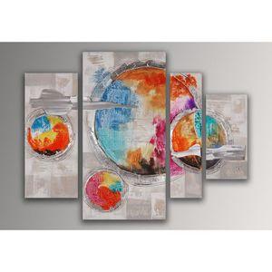 TABLEAU - TOILE Planètes tableau abstrait peint à la main sur toil