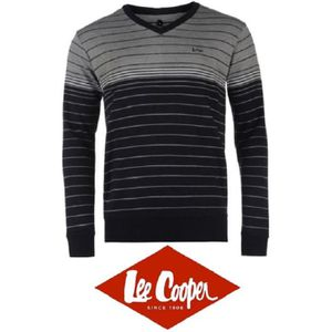 PULL SWEAT PULL HOMME LEE COOPER COL V RAYURES MARINE/G