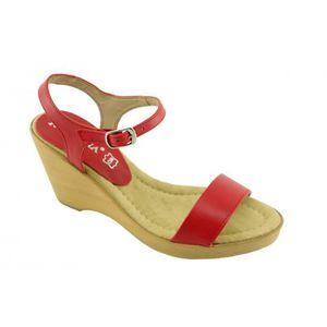 stable confortable fabriquées cuir compensée talon femme Chaussures sandales rouge et en Espagne Vidya AXqgag