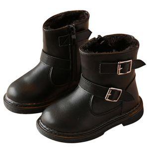 D'hiver Bottes Cuir Enfants Nouveaux Mode Bottines Fille BBZH-XZ104Rouge24 Ai3aitz