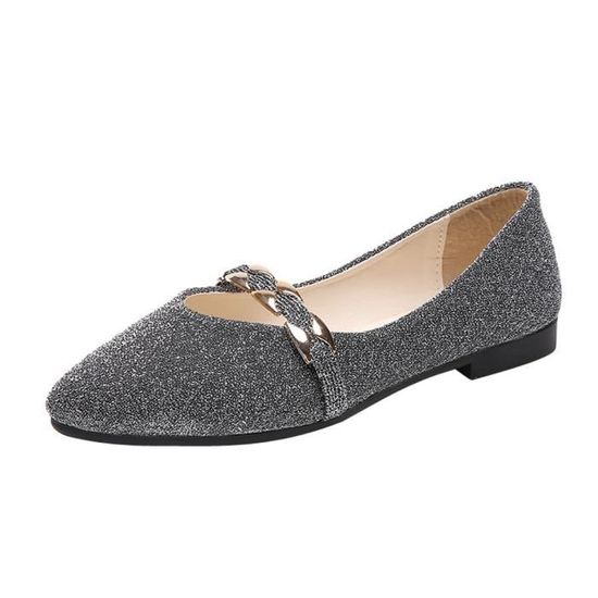 Reservece  Femmes Sequins Shallow Slip On Low Heel Flat Party Shoes Pointed Single Shoes argent  Argent - Achat / Vente slip-on