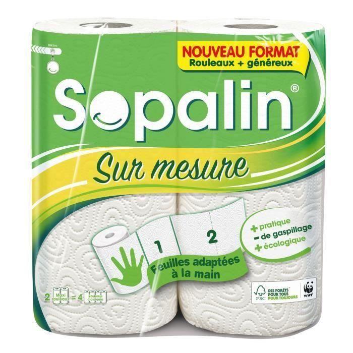 Lot de 6 - SOPALIN ESSUIE-TOUT MAXI ABSORBANT MAXI-FEUILLE, 2 ROULEAUX