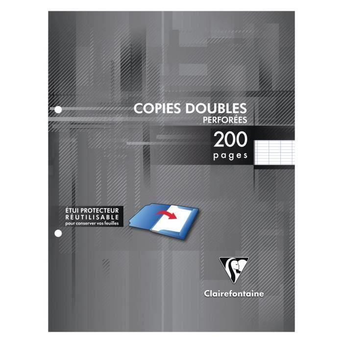 CLAIREFONTAINE - Copies doubles blanches perforées - 17 x 22 - 200 pages Seyès (Lot de 3)
