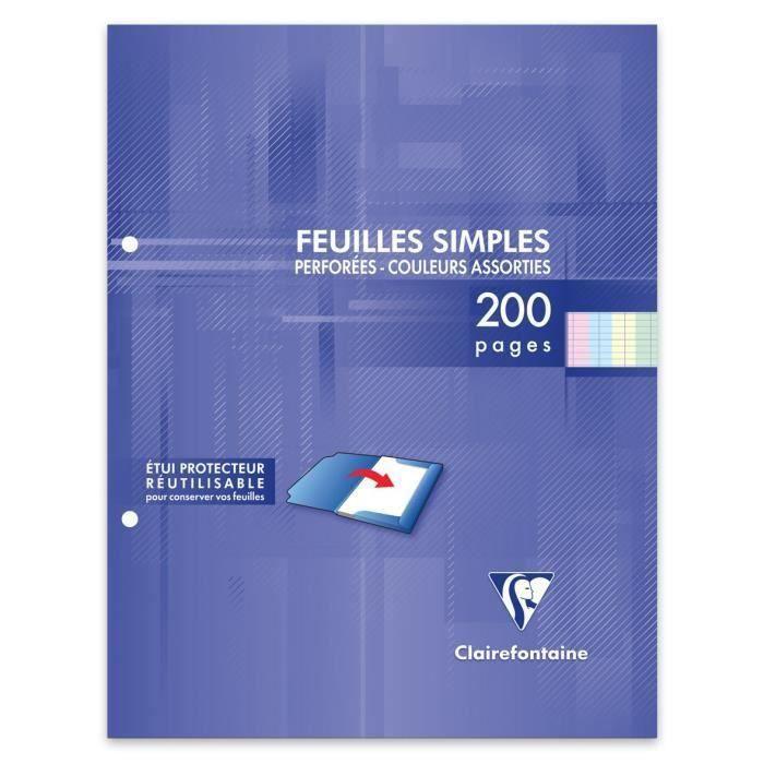 CLAIREFONTAINE - Feuilles simples couleurs - 4 couleurs - Perforées - 17 x 22 - 200 pages Seyès - Papier P.E.F.C 90G (Lot de 3)