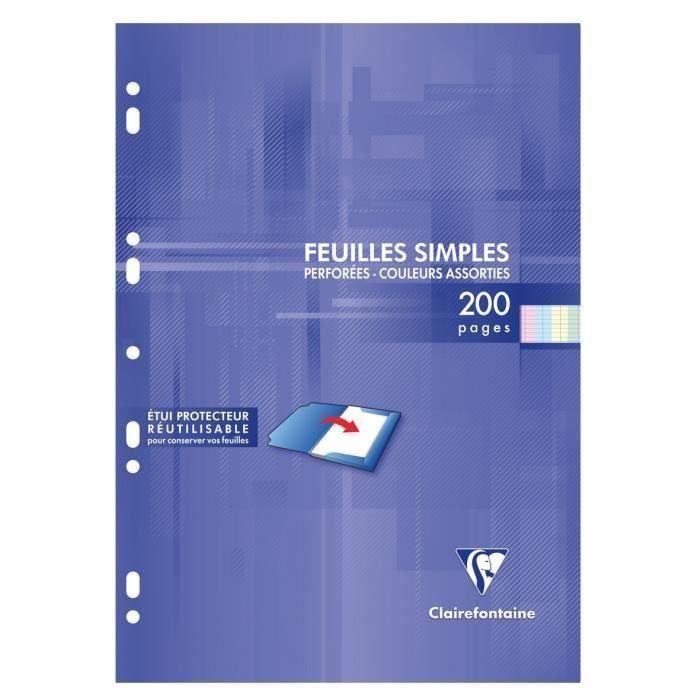 CLAIREFONTAINE - Feuilles simples couleurs - 4 coloris assortis - Perforées - A4 - 200 pages Seyès - Papier P.E.F.C 90G (Lot de 3)