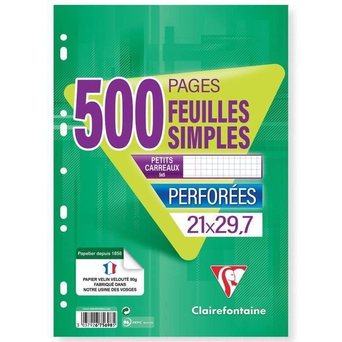 CLAIREFONTAINE - 500 Feuilles simples blanches - Perforées - 21 x 29,7 - Petits Carreaux 5x5 - Papier 90G (Lot de 3)