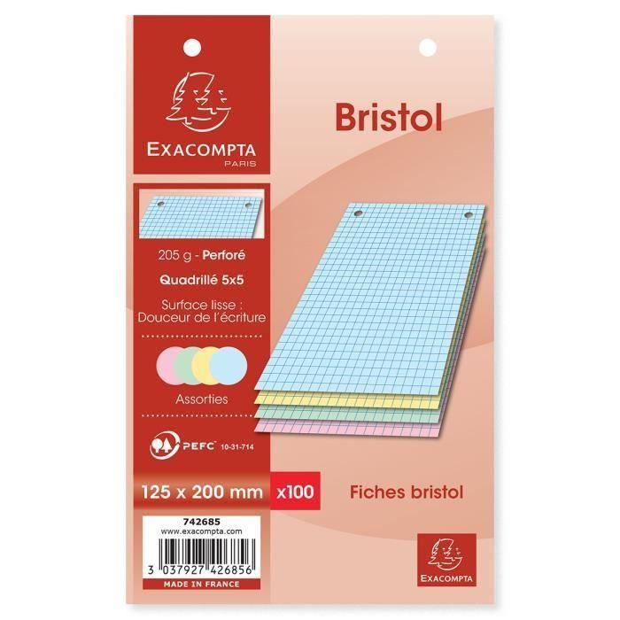 EXACOMPTA - 100 Fiches Bristol Couleurs - 4 coloris assortis - Perforées - 12,5 x 20 - 5x5 - Papier P.E.F.C 205G (Lot de 3)