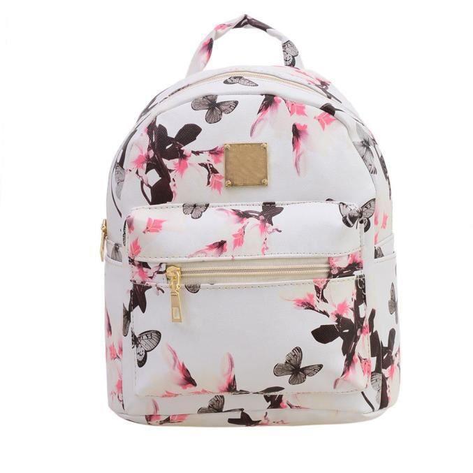 5af7ca586b les femmes sac à dos causal de la mode sac en cuir d'impression florale  blanc