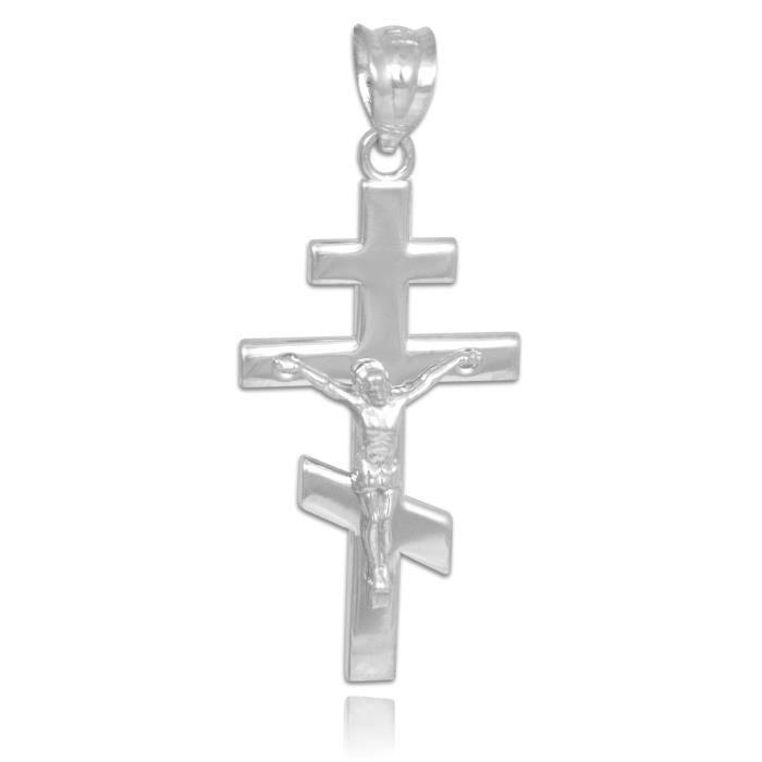 Collier PendentifCollier Pendentif avecen argent Crucifix Orthodoxe Russe (vient avec une Chaîne de 45 cm)