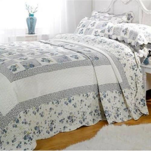 Parure couvre lit matelassé 2 personnes Lille   bleu   260 x 240
