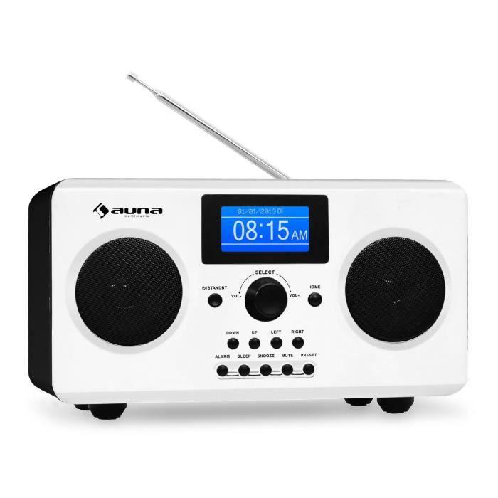 Auna Quarz 150 - Radio Internet Wifi Stéréo Avec Entrée Aux Et Fonction Rds (météo, Réveil, Bassreflex) Blanc