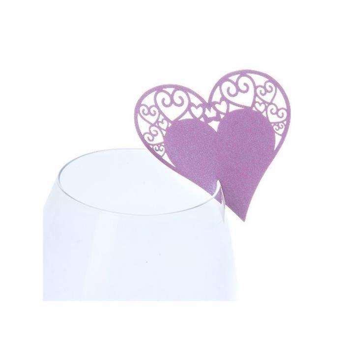 MARQUE-PLACE  50x Marque-Place Cœur Décors Table Mariage(Violet)