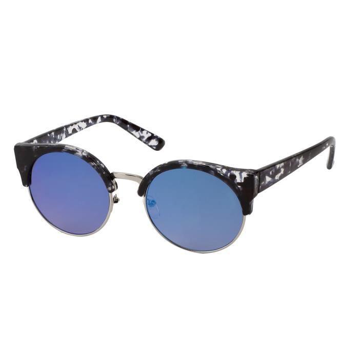 f409f3c7e36481 Lunettes rétro-chic avec miroir couleur femme-7812 écaille gris, verre  miroir bleu