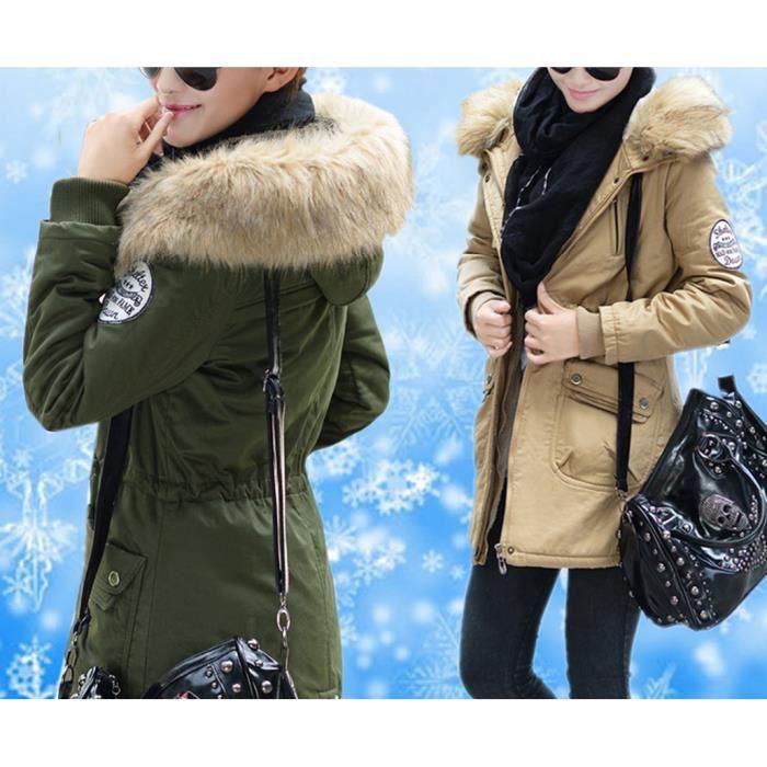 femmes zipp manteau fourrure veste capuche pardessus trench parka hiver coat couleur vert. Black Bedroom Furniture Sets. Home Design Ideas