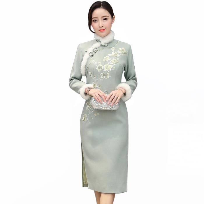 f1cd37be1be Robe Femme Automne et hiver mi-longue Col officier Broderie Style chinois  mode slim fit Vert SIMPLE FLAVOR