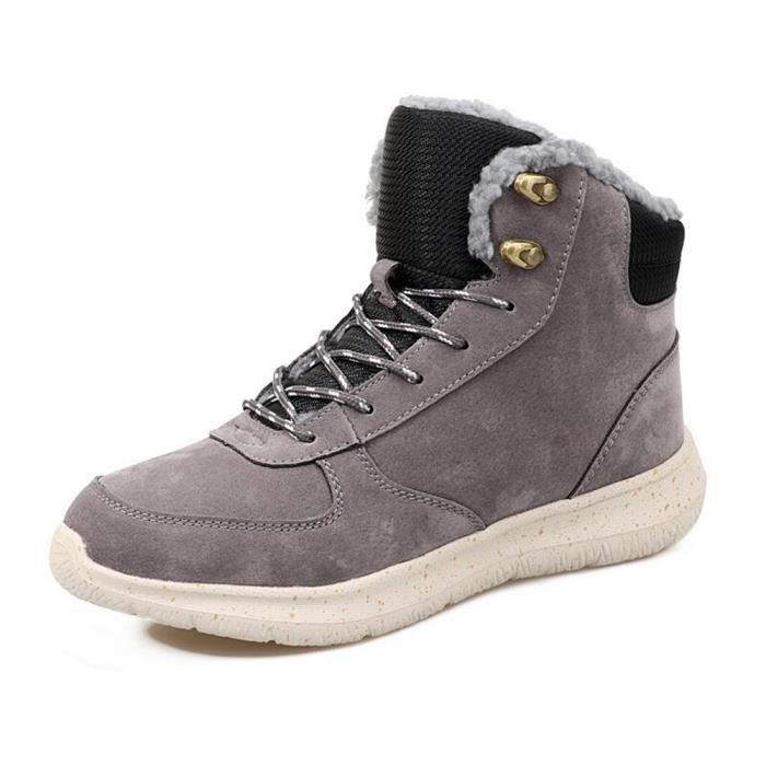 hommes Bottes de neige air de Antidérapant épaisses pour Botte longues gris chaussure Hiver en plein peluche chaud taille 39-44
