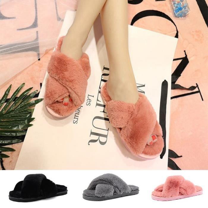 achat original différents types de matériau sélectionné Pantoufles Femme Plates en Fourrure Chaussons Chaussures de Chambre