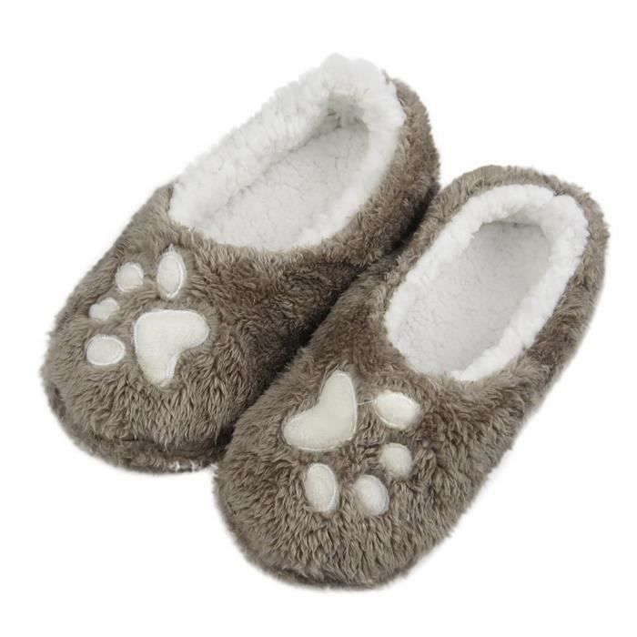 Plush Terry Slip On Slipper Socks With Great Grippers (fba) QTRZH Taille-38