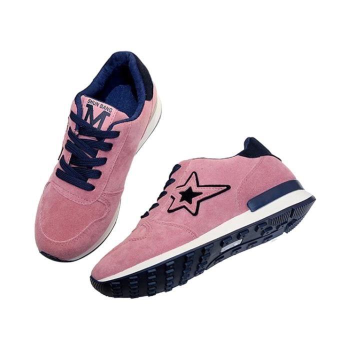 1 paires de chaussures de sport de la couleur rose,chaussures de derapage pour les etudiants, chaussures respirantes de loisirs de