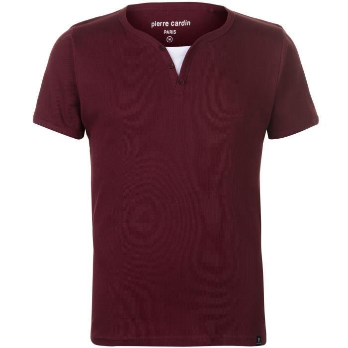 e21e3bc9b6cc T-Shirt Col Boutonné Homme PIERRE CARDIN Rouge Bordeaux blanc ...
