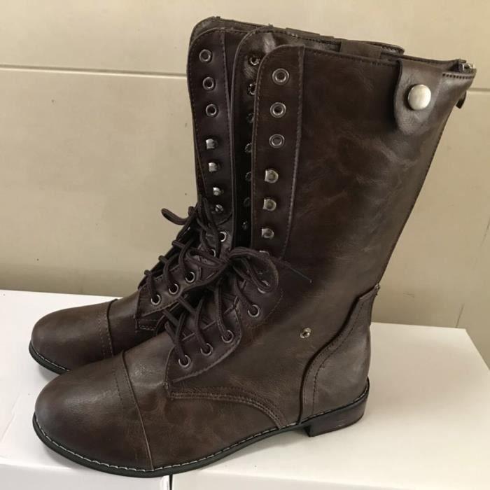 2d0c20ff9ed7a dedasing® femme Vintage Fashion talon bas talon épais botte courte cheville  Bottes Bottines Chaussures marron